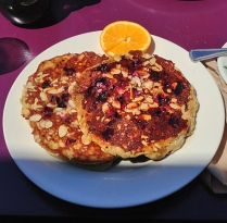 fresh - blueberry almond pancakes